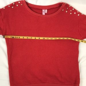 FANG Sweaters - Dolled Up by Fang- Red studded sweater, M